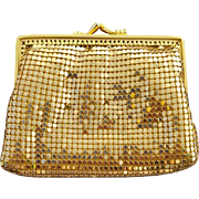 Vintage 1980s Gold Metal Mesh Coin Purse Soft Sides