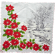 Large Vintage Christmas Handkerchief Fancy Holiday Hanky