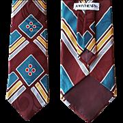 Vintage John Henry Silk Jacquard Necktie Geometric Mint