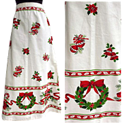 1960s Vintage Christmas Tablecloth Skirt Holiday Hostess Size Small