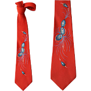 Handpainted 1960s Christmas Necktie Abstract Design
