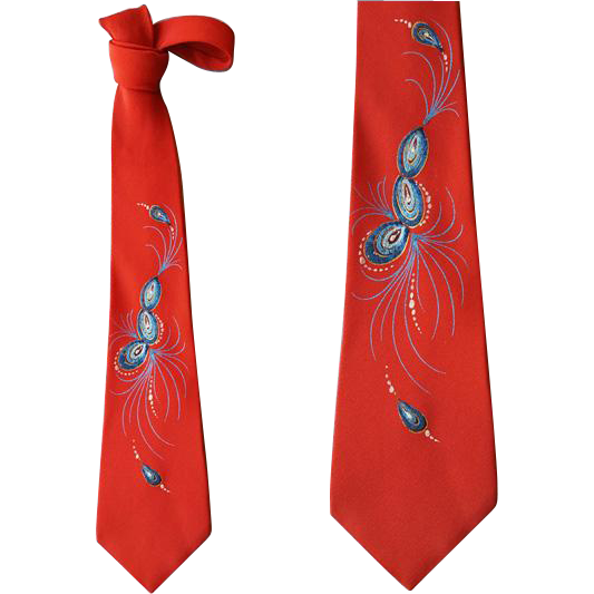 Handpainted 1960 Necktie Abstract Design Narrow Neck Tie
