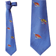 1960s Men's Necktie Hand Painted Sparkly Fly Fishing Lures