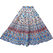 1950s Vintage Cotton Skirt Stylized Print Size Small - Medium