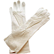 1960s White Leather Gauntlet Gloves MIP Small to Medium