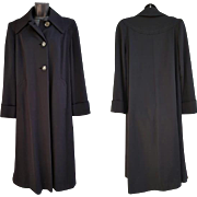 1940s Black Gabardine Coat Full Length with Liner Extra Large XL