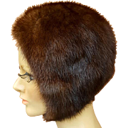 Vintage Ranch Mink Cap / Hat with Chin Strap Warm