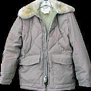 Men's Vintage Schott Down Puffy Coat with Faux Fur Medium