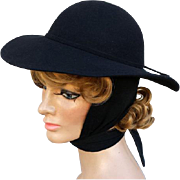 Women's Vintage Black Wool Felt Hat Attached Wrap Scarf Winter Wear