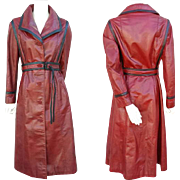 1970s Women's Red with Black Leather Trench Coat S-M Small to Medium