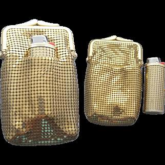 Vintage Whiting Davis Gold Mesh Cigarette Purse and Mesh Lighter Unique