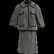 Vintage 1960s Black and White Tweed Suit Jackie O Style Medium