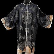 1930s Black Silk Asian Chinese Coat Gold - Silver Bullion Embroidery Size Medium