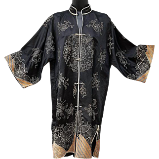 1930s Black Silk Asian Chinese Coat with Gold and Silver Bullion Embroidery Medium