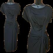 Classic 1940s Cocktail Dress Dramatic Draping Size Medium - Large