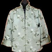 Superb Sage Green Silk Embroidered Asian Jacket Size Large