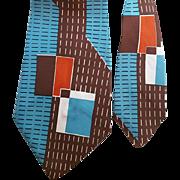 Vintage 1950s Wide Necktie Mid Century Architectural Print