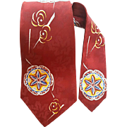 Wide 1950s Silky Necktie Silky Jacquard Chinese Panel Happiness Symbol
