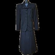 1940s Classic Black Gabardine Suit Women's Size Large Lg