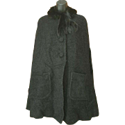 Dramatic Black Mohair and Mink Cape Size Large - Extra Large Vintage 1950s