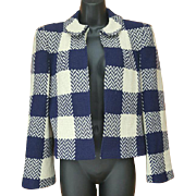 1940s Crop Wool Jacket Gorgeous Plaid Check Chevron Size Small S