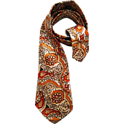 Early 1940s Satin Acetate Necktie Gold Rust Amber White