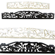 Two Carved Bone Purse Tops 1920s - 1930s Black and White