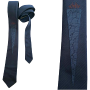 1960s Skinny Necktie Sophisticated Narrow Navy Blue