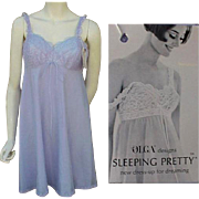 Vintage Olga Nightgown NOS Sleeping Pretty Periwinkle Size Large L