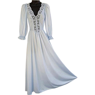 Vintage Olga Nightgown with Sleeves Size Small Softest Blue