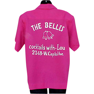 1960s Pink Bowling Shirt The Bells Cocktails with Lou for Harold