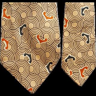 1940s Men's Vintage Necktie Hollywood Rhythm by Hollyvogue