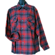 Men's Vintage LS Wool Shirt Pendleton Classic Plaid Large
