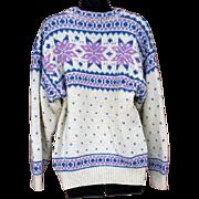 Vintage Wool Icelandic Sweater Lavender Blue White Size Large - Extra Large