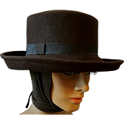 Brown Wool Fedora Style Hat with Attached Scarf size M Medium