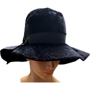 Vintage Wide Floppy Brim Black Hat Brushed Felt Fur Fabulous
