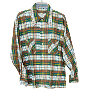 Men's Vintage Long Sleeve Flannel Shirt 1970s Size Large