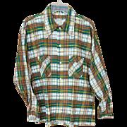 Men's Vintage Long Sleeve Flannel Shirt 1970s Size Large