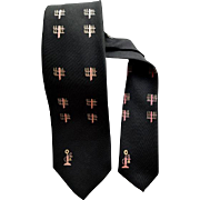 Narrow 1960s Men's Black Silk Necktie Printed with Pink Candlestick Telephones