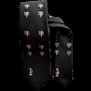 Narrow 1960s Men's Black Necktie with Pink Candlestick Telephones