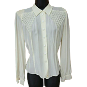 1940s Blouse White Rayon Crepe Smocked Bodice Size Extra Small