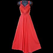 Vintage Rosy Red Olga Nightgown Bodysilk size L / Large
