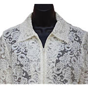 Elegant White on White Lace Jacket Victor Costa Small - Medium