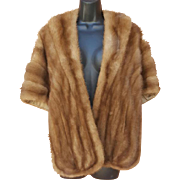 1960s Natural Honey Haze Mink Stole M - L Fabulous Fur Wrap Shrug Shawl