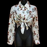 1970s Blouse Crop Top Blouse Versatile Ties Art Deco 1920s Print Bust 36