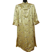 Vintage Asian Evening Coat Gold Silk and Rayon Brocade Size Large