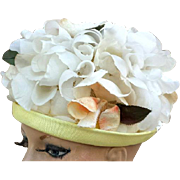 1960s Hat for Spring and Summer White Peach Silk Flowers Easter Ready