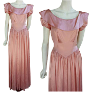 1930s - 1940s Pink Satin Evening Gown with Bustle Size Medium Bust 36