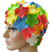 1960s - 1970s Rubber Swimming Cap Fluttering Flowers Size Medium