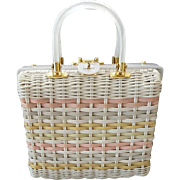 1960s Box Purse Lucite and Woven Wicker Plastic in Pastels